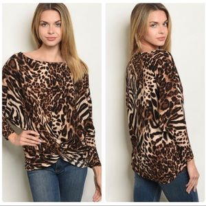 Brown Shades Leopard Print Top